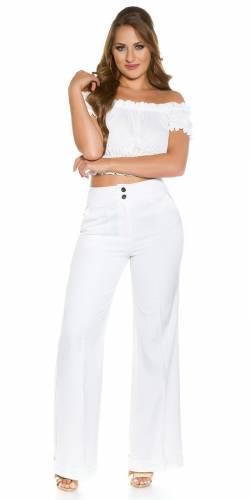Pantalon en tissu Marlene - white