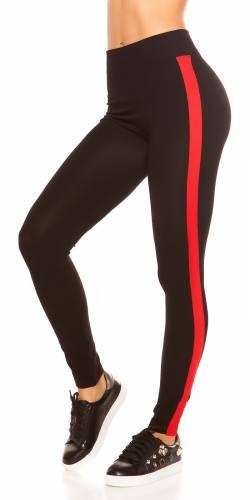 Streifen Leggings - red