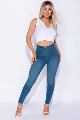 High Waisted Jeggings - blue