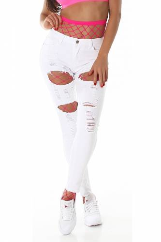 Distressed Jeans - weiss