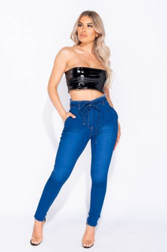 Waist Skinny Jeans - blue