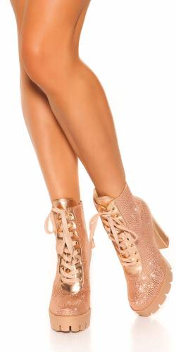 High Heels Stiefeletten - rosa