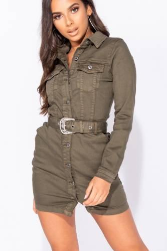 Jeanskleid - khaki