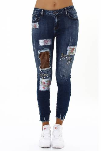 Patches Jeans - dark blue
