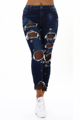 Distressed Jeans - dark blue