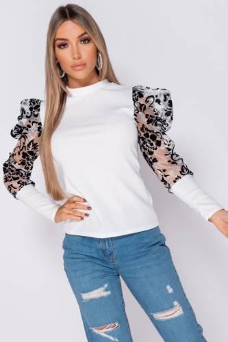 Chemise à manches longues bouffantes - blanc
