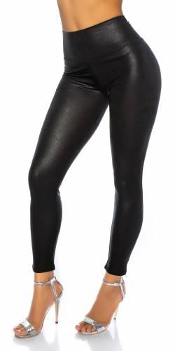 Leggings ascpect cuir - black