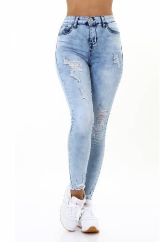 Used Look Jeans - hellblau
