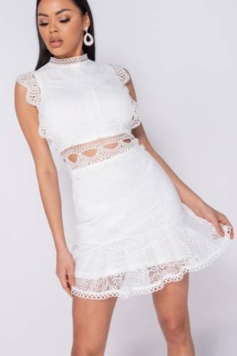 Mini robe en dentelle - blanc