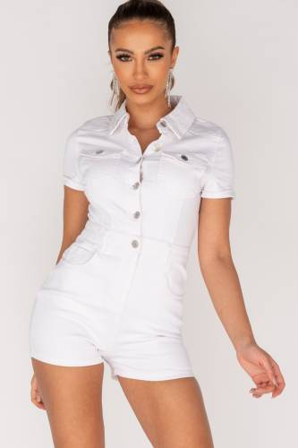 Denim Playsuit - white