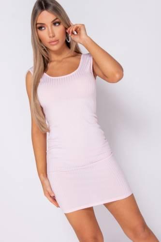 Rippstrick Kleid - rosa