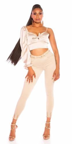 High Waist Jeans - beige