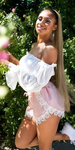 Stoffshorts - rosa