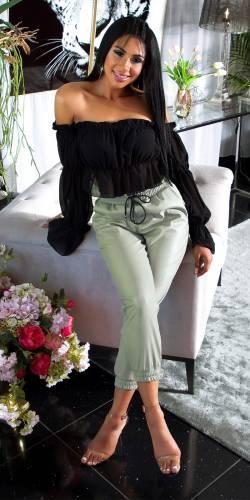 Pantalon aspect cuir - turquoise