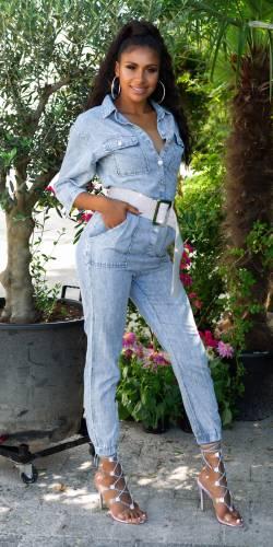 ICE WASH Jeans Overall - hellblau