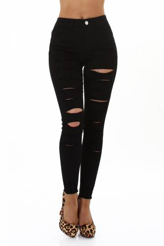 Destroyed Jeans - black