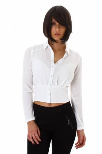 Langarm Bluse - weiss