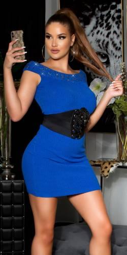 Feinstrick Kleid - blau