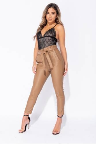 Pantalon Paperbag - beige
