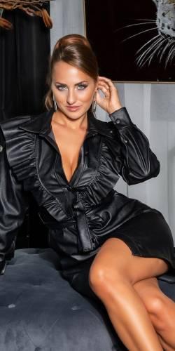 Volant Kleid - black