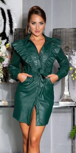 Volant Kleid - dark green