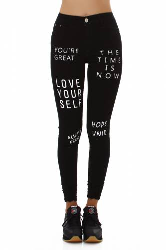 Print Jeans LOVE YOUR SELF - schwarz