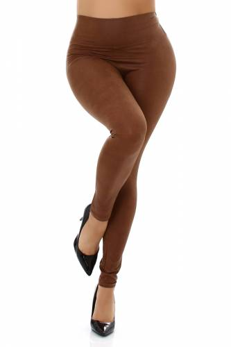 Leggings aspect cuir - marron