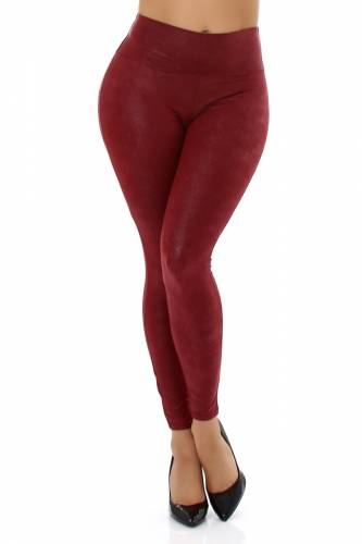 Leggings aspect cuir - bordeux