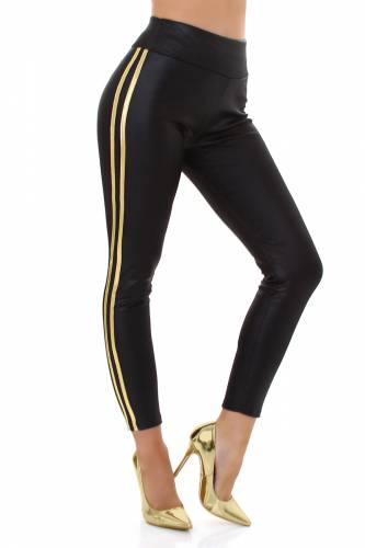 Leggings aspect cuir - noir