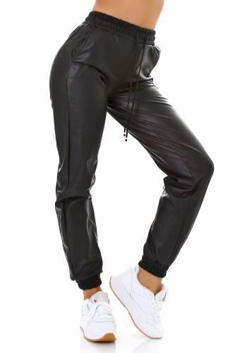 Lederlook Jogger - black