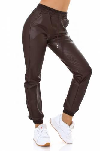 Jogger aspect cuir Rajna - marron
