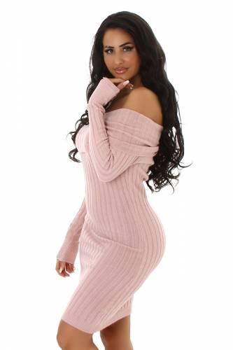 Robe tricotée Carmen - rose