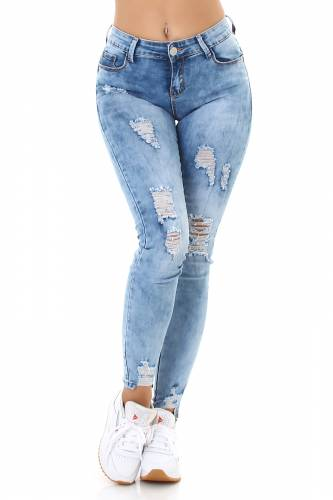 ACID WASH Push-Up Jeans - hellblau