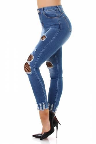 High Waist Jeans Sandel - bleu