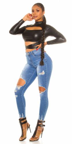 High Waist Jeans Junia - bleu