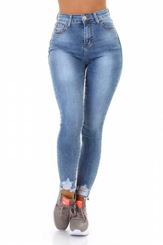High Waist Strech Denim - blau