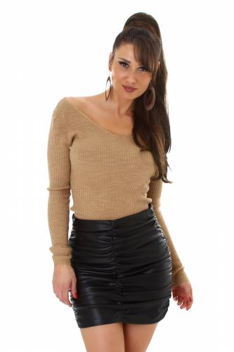 Pull en tricot fin - châtain clair