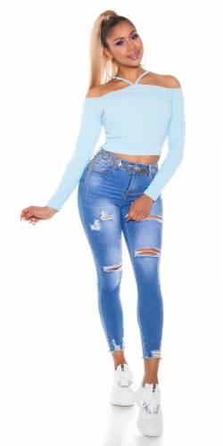 Langarm Top - pale blue