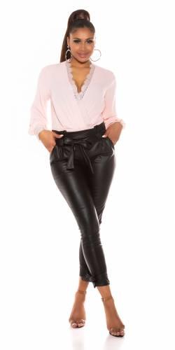 Pantalon aspect cuir - noir