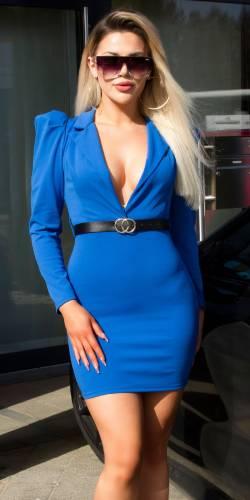 Minikleid mit Gürtel - blau