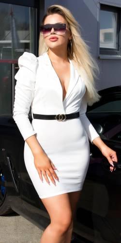 Mini robe avec ceinture - blanc