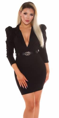 Minikleid mit Gürtel - schwarz