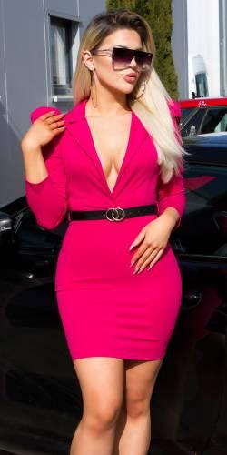 Minikleid mit Gürtel - pink