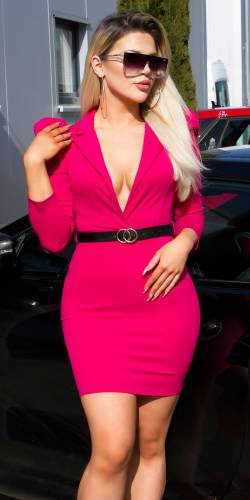 Mini robe avec ceinture - pink
