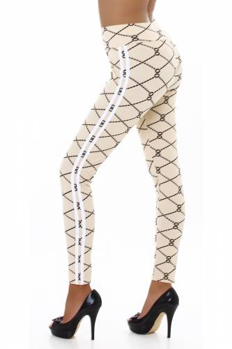 Print High Waist Leggings  - beige