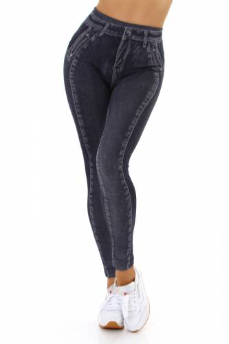 Leggings aspect jean Daiva - noir