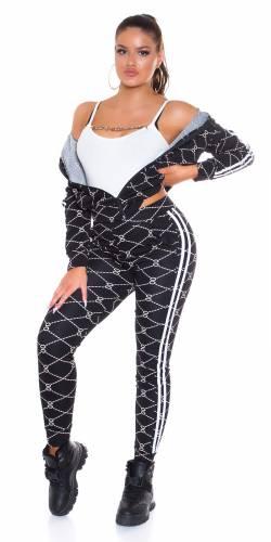 Combinaison de jogging imprimée Loana - noir