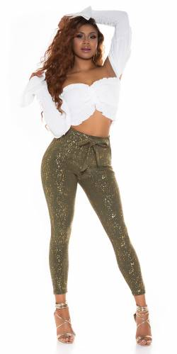 High Waist  Hose Calina - khaki