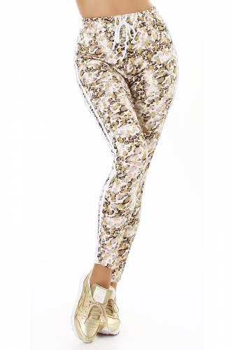 Pantalon de jogging avec imprimé léo - beige