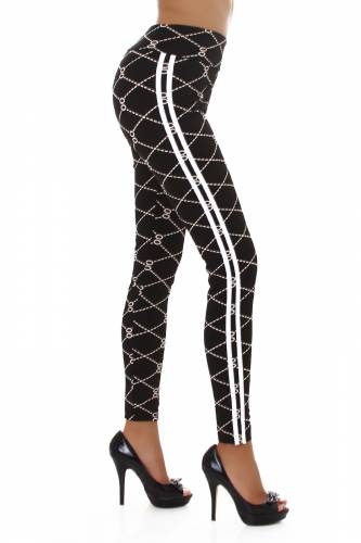 Print High Waist Leggings  - schwarz
